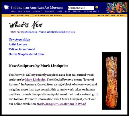 SMITHSONIAN AMERICAN ART MUSEUM ACQUIRES MARK LINDQUIST WOOD SCULPTURE: AKIKONOMU - CLICK FOR DETAILS